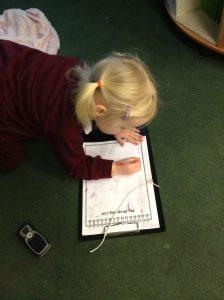 Writing a shopping list.